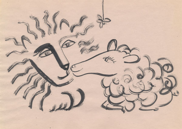 Nose-To-Nose-Lion-&-Lamb-Drawing