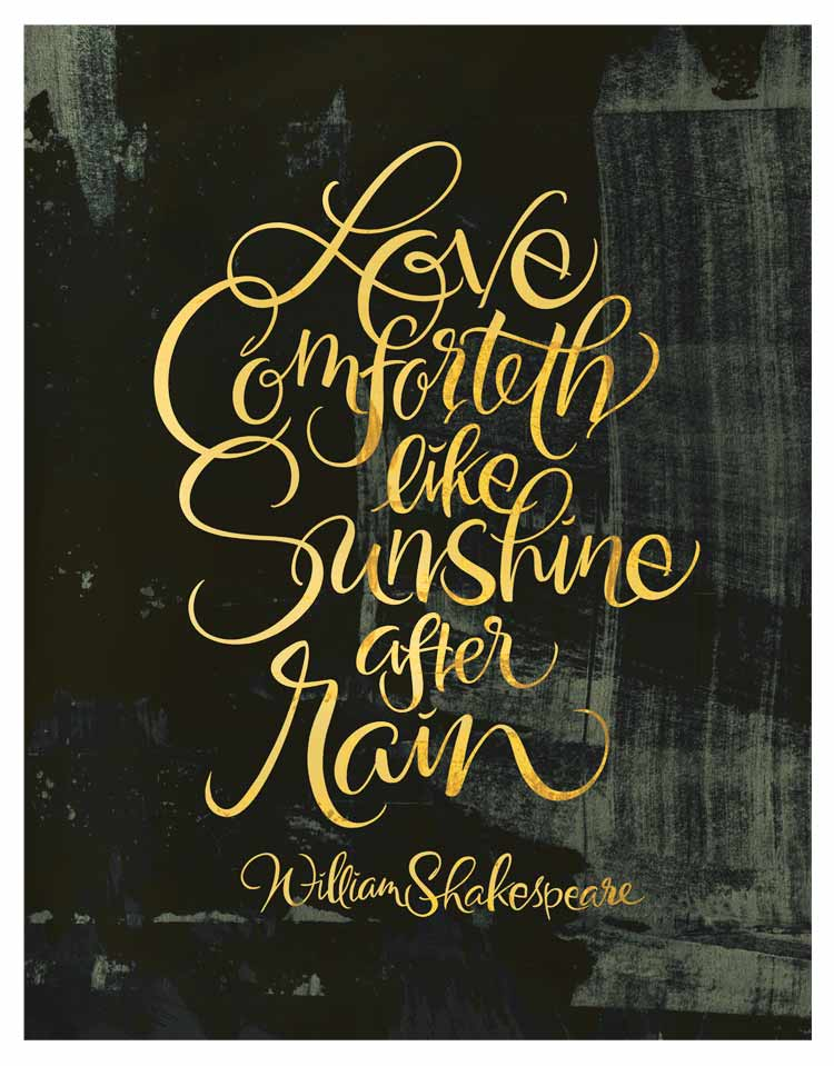 LoveComfortethLikeRainShakespeareCalligraphy